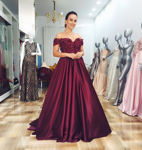 Dark Red Off Shoulder Ball Gown Elegant Formal Evening Gown 2019 New Beaded Maternity Pregnant Evening Dresses