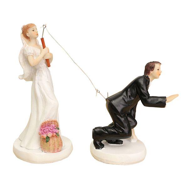 FUNNY ROMANTIC WEDDING CAKE TOPPER FIGURE BRIDE GROOM COUPLE BRIDAL Groom hooked
