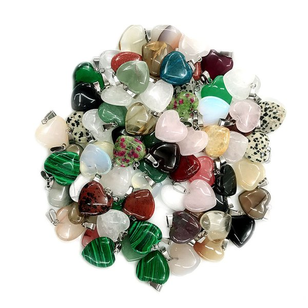 wholesale Heart Natural Stone Beads Pendants Necklaces Beads For Jewelry Making Mixed Charms Accessories Kralen 20mm 50Pcs/lot