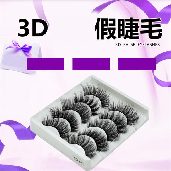 3D handmade chemical fiber false eyelashes 5 pairs/SET soft and comfortable cotton wire stem stereo multi-layer eyelashes 10SET