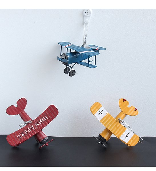 150pcs Creative Vintage Metal Plane Iron Aircrafts Glider Biplane mini Airplane Model Toy Christmas Kids Room Decoration