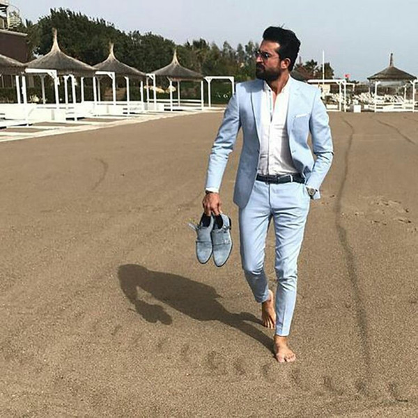 Latest Coat Pants Designs Blue Men Suits Groom Wedding Tuxedo Summer Beach Bridegroom Suits Man Blazer 2Piece Bridegroom Jacket