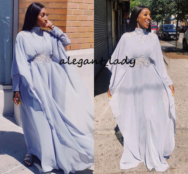 Dusty Pale Blue Jellaba Caftan D'or Evening Formal Dresses with Long Sleeve Cape 2019 High Neck Lace Caftan Morrocco Arabic Prom Gown