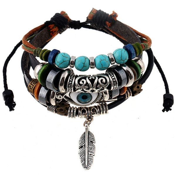 European and American fashion new alloy feather pendant beaded leather bracelet personalized woven leather bracelet jewelry wholesale