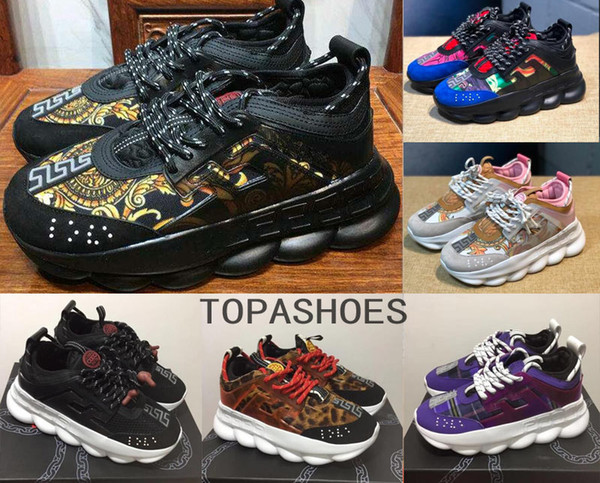 wholesale high quality Chain Reaction sneakes designer Sneakers Mens Women sport running leather Casual Shoes Trainer Lightweight sole