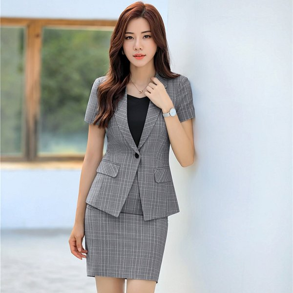 Summer Formal Ladies Grey Blazer Women Business Suits with Skirt and Jacket Sets Office Work Wear Outfit Clothes