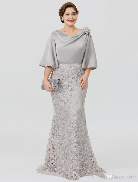 2020 Elegant Silver Mother Of The Bride Dresses Half Sleeve Lace Mermaid  Wedding Guest Dress Plus Size Formal Evening Gowns M002 Ivory Mother Of The  ...
