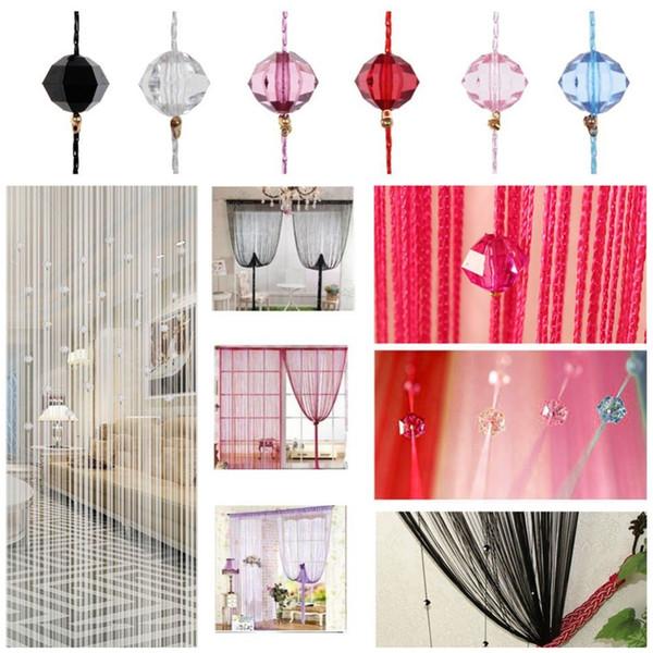 1X2M String Curtain Tassel Crystal Beads Curtains Silk Door Divider Sheer Curtains Valance Door Windows Panel Home Decor