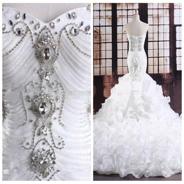 Luxurious Bling Bling Crystal Beaded Mermaid Wedding Dresses Tiered Ruffles Beading Bridal Gowns 2020 Custom Lace Up Back Vestidos De Mariee