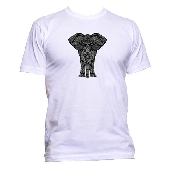 Ethnic Grey Elephant Drawing Unisex T-Shirt Mens Womens Fashion Comedy Cool Gift Short Sleeve Plus Size t-shirt