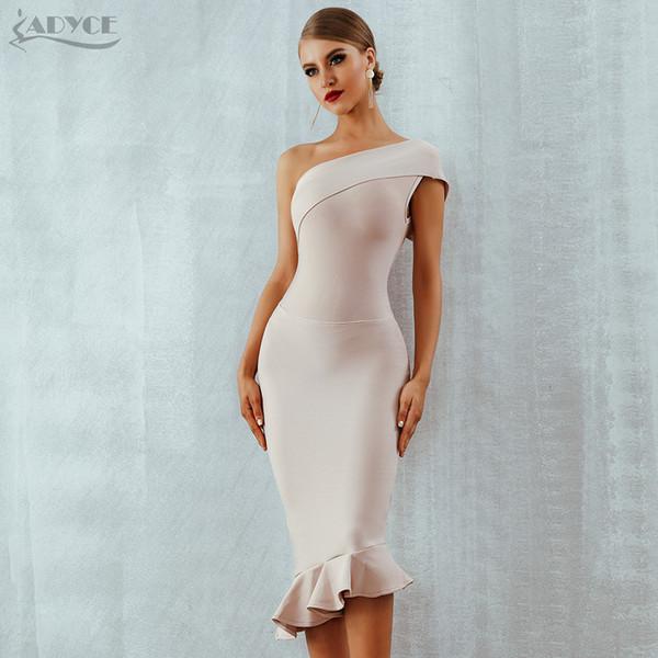 Adyce 2019 Yeni Yaz Kadın Bandaj Elbise Vestidos Bir Omuz Kolsuz Ruffles Gece Kulübü Elbise Ünlü Akşam Parti Elbise J190425