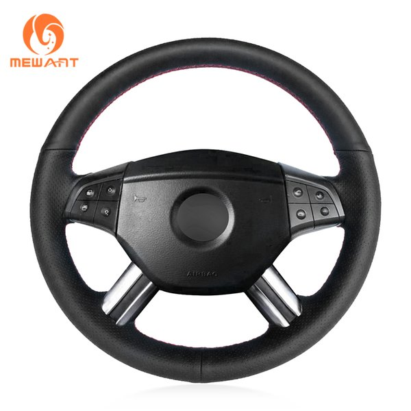 MEWANT Black Genuine Leather Steering Wheel Cover for W164 M-Class ML350 ML500 2005 2006 X164 GL-Class GL450