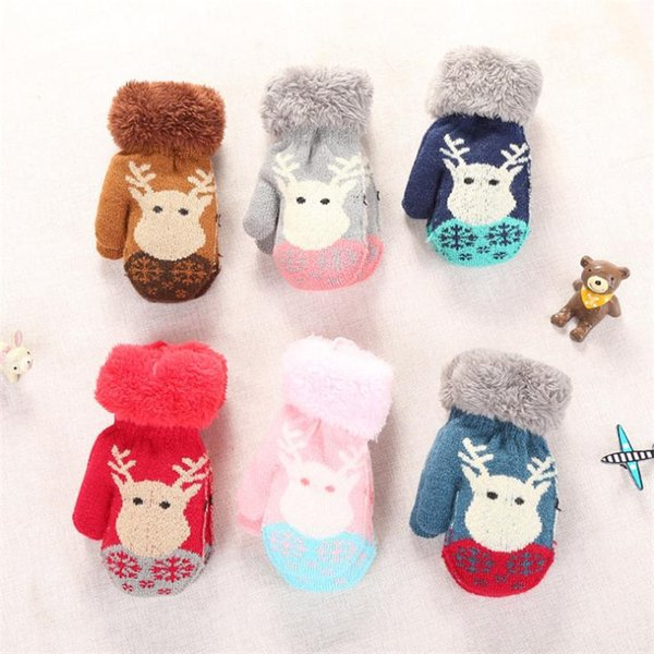 Fashion Children Winter Knit Glove Cut Christmas Wapiti Pattern Double Thickening Warm gloves Jacquard Kids Lanyard Mittens