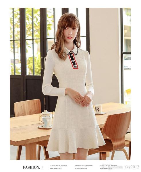 A nova moda estilo casual de damasco lapela de manga comprida fishtail ragny vestido, bem-vindo à loja sky2012 para comprar!