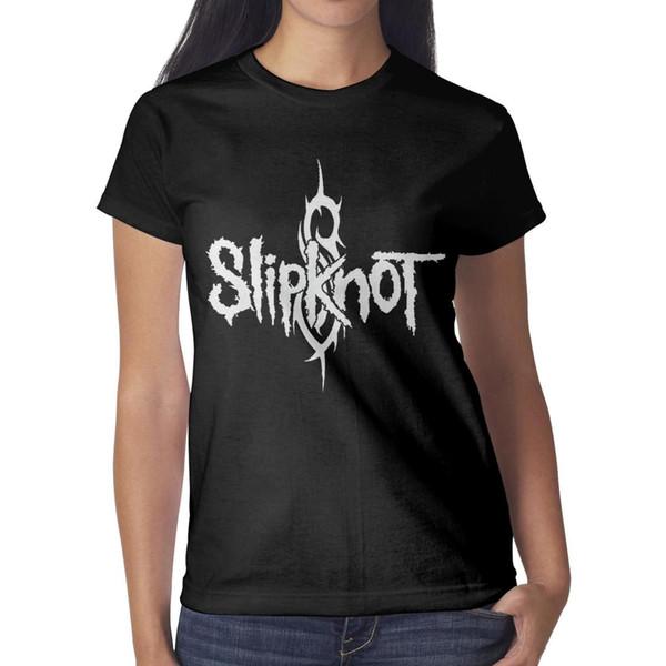 Slipknot-logo-American-Heavy-Metal-Band- Womens T Shirt black Shirts Custom T Shirts Cool Personalised Crazy Blank Shirt Black