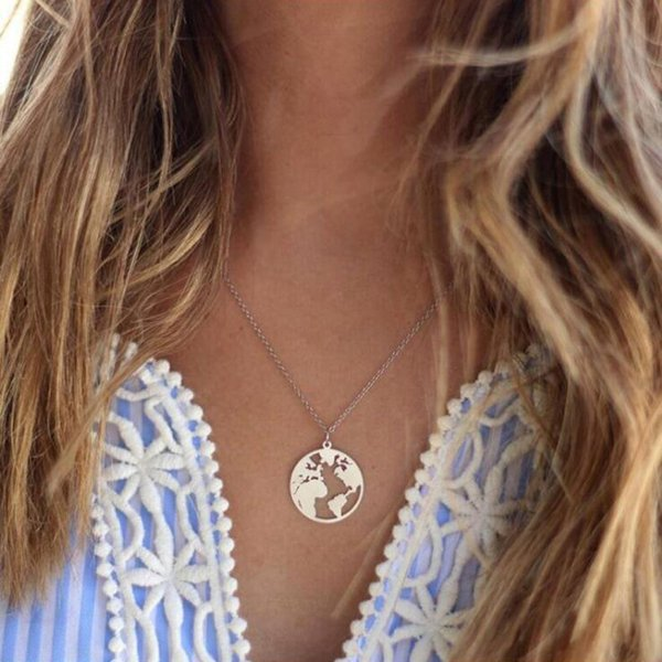 2018 Globe World Map Necklace For Women Men Creative Round Wanderlust Pendants Personalized Fashion Travel Outdoor Necklace Gift