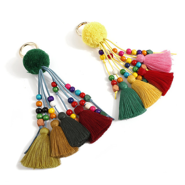 fashion jewelry original hair ball tassel key chain bag pendant solid wood rice beads korea velvet suede rope hanging ornaments made in chin