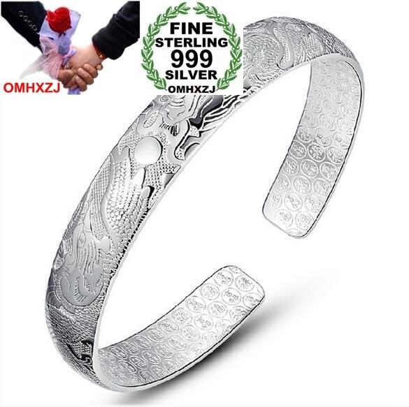 OMHXZJ Wholesale fashion dragon phoenix ching cheung woman kpop star Fine 999 Sterling Silver opening bracelet Bangles gift SZ18