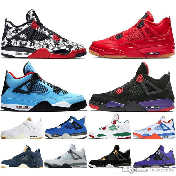 fashion686 / Nike air jordan 4 2019 Neuankömmling Bred Pale Citron Tattoo 4 IV 4s Männer Basketballschuhe Pizzeria Singles Day Königshaus Turnschuhe für Männ