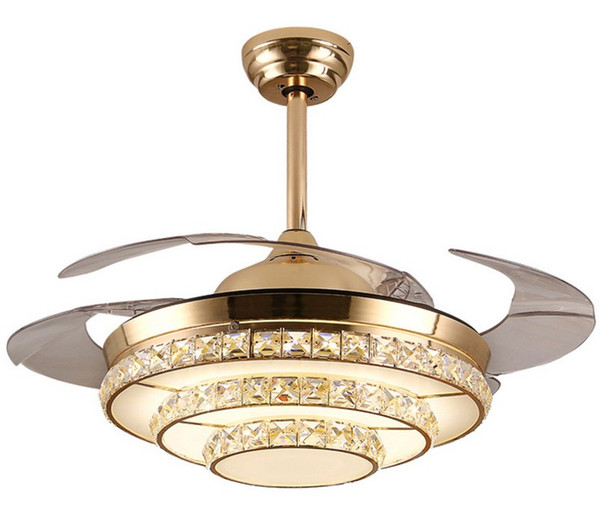 Crystal Led Ceiling Fan Lamp 42 Inch Invisible Ceiling Fan Light with Remote Control 4 Blade LLFA
