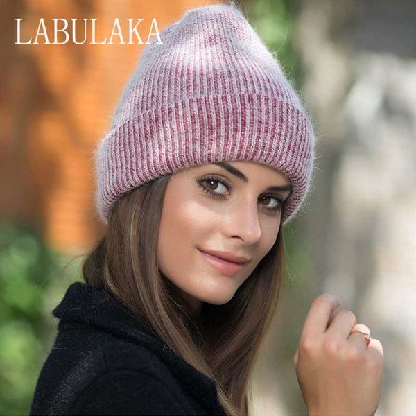 2018 New Women Winter Hats Warm Rabbit Fur Knitted Beanies for Ladies Real Fur Skullies Caps Fashion Solid Soft Cotton Knit Hat