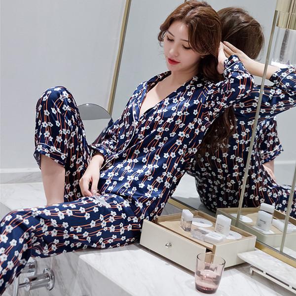 Herislim Frauen-Pyjamas Luxus-Blumendruck-Shirts und Hosen 2Pcs Pyjama Set Silk Pijama Nachtwäsche Frühling Nachtwäsche Startseite Kleidung
