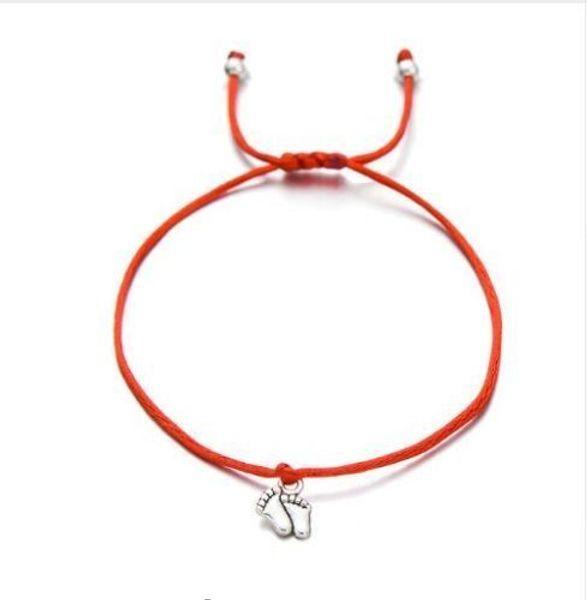 Free ship 50pcs/lot Double Feet Family Wish Bracelets Simple Red String Charms Gift Bracelets Adjustable Bracelets HOT