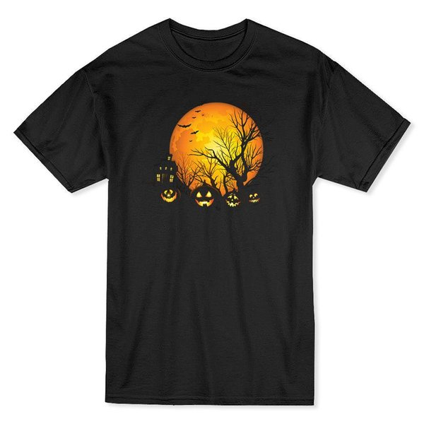 Halloween Haunted House And Full Moon Men's Black T-shirt