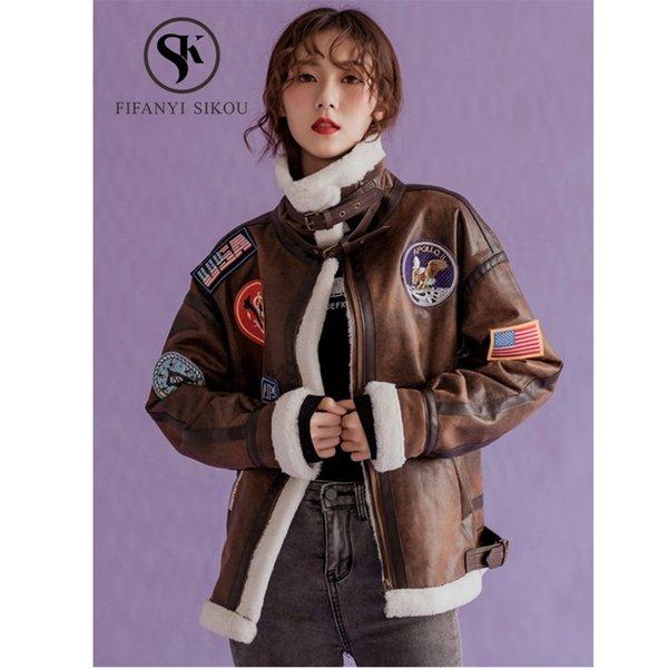 Mulheres de inverno casaco de pele de cordeiro camurça jaqueta de couro moda emblema bordado motocicleta casacos das mulheres casaco básico outerwear quente