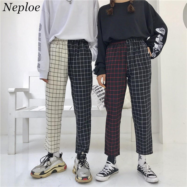 Neploe Vintage Ücretli Patchwork Pantolon Harajuku Kadın Erkek Pantolon Lastikler Yüksek Bel Pantolon Kore Nedensel Düz 37403