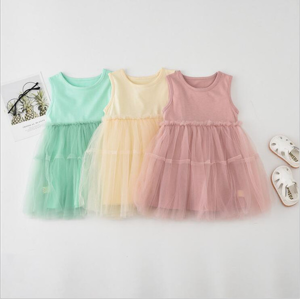 Baby Girls Clothes Kids Tutu A-line Dresses Tulle Princess Sundress Summer Cake Dresses Fairy Elegant Boutique Dresses Party Dance B5416