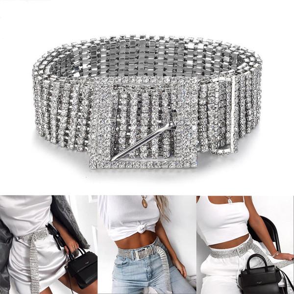 Argent strass pleine Diamante Mode femme ceinture Paillettes 2019 New Corset Ceinture Harajuku Mesdames taille charme Accessoire 2 Szie Hot C19041301