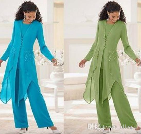 2020 Kaliteli Zarif Şifon Uzun Kollu Ile Jewel Boyun Ruffles Anne Gelin Pantolon Takım Elbise Anne Ceket ile Suits