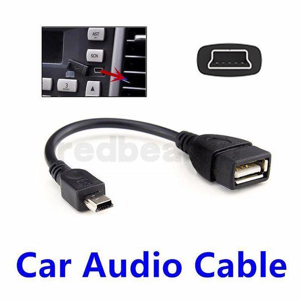Mini 5 Pin Male USB to USB 2.0 Female USB OTG Host Extension Cable Black color