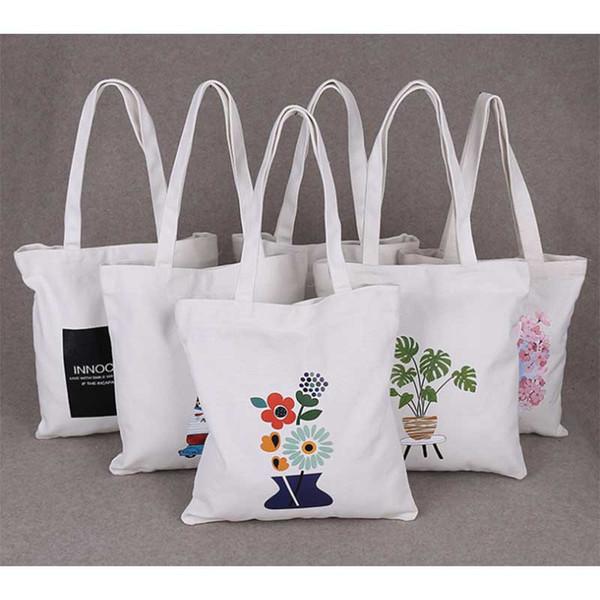 ae4464406f3d Слоновая кость пользовательские красочный логотип холст хлопок сумка  большая мода простой хлопок холст сумки на ремне случайные эко сумка