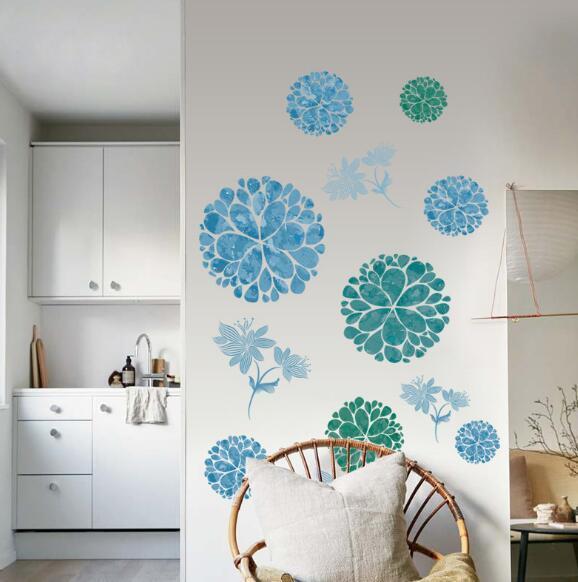Elegante bola de flores combinación de flores azules nuevas pegatinas de pared fábrica al por mayor dormitorio sala de estar extraíble impermeable pegatinas de pared creat