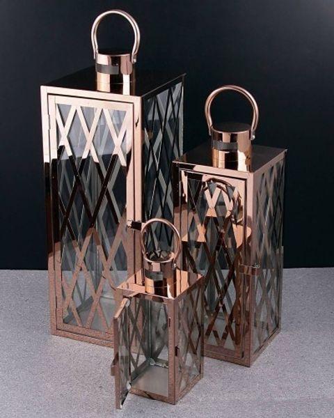 Ferro forjado Candle Lantern Set RDC Copper Metal Mesh HB-002859942