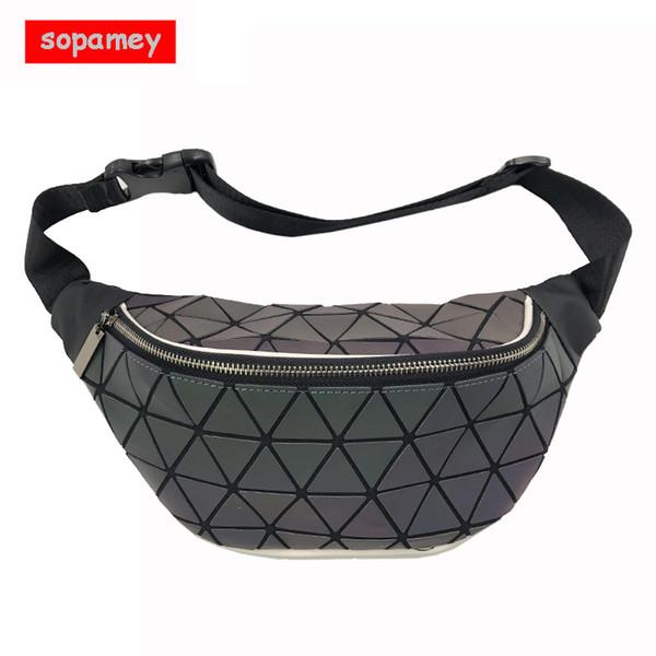 Fashion Women's Luminous Waist Bags Women Fanny Packs Belt Bag Chest Handbag Geometry Waist Packs holographic Travel Phone Bag
