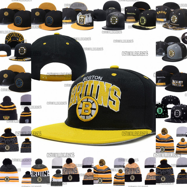 Men's Boston Bruins Ice Hockey Knit Beanie Embroidery Adjustable Hat Embroidered Snapback Caps Black White Yellow Gray Stitched Knit Hat