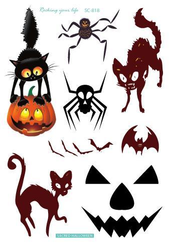 Temporary Tatoo Fake Tattoo Sticker Happy Halloween Pumpkin Lantern Spider Cat Flash Tatto Waterproof Tattoos For Men Women Kids