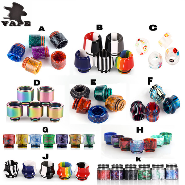 best selling Hot 810 TFV8 TFV12 Drip Tips Newest Epoxy Resin Wide Bore Mouthpieces Fit TFV12 TFV8 Vape Tank E Cigarettes DHL free