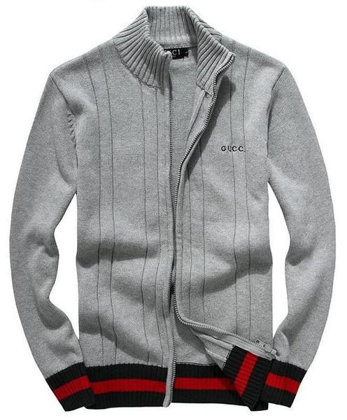 Горячая распродажа классический высококачественный свитер осень зима новый мужской пуловер свитер половина высокий воротник на молнии толстой хлопчатобумажной полосой куртки