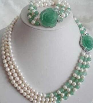 7-8mm White Akoya Pearl Natural Emerald Necklace Bracelet Set