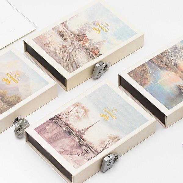 2019 Libro de contraseñas Pintura Planificador de cuadernos Cuaderno de escuela secundaria Útiles escolares Material de oficina Papelería B5 120 Hojas