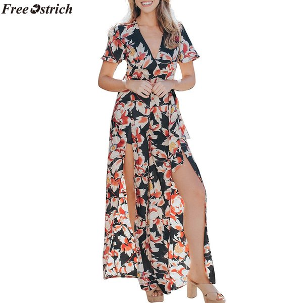 FREE FREE OSTRICH Women Print Chiffon Short Sleeve V-neck Long Jumpsuits Ladies Party Casual Lace Up Summer Rompers Plus Size