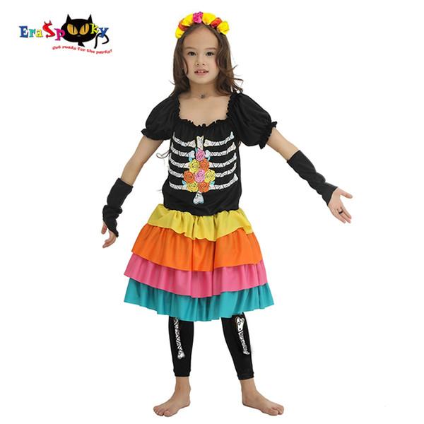 Eraspooky assustador Bones Noiva Cosplay Halloween Costume For Kids esqueleto vestido de meninas Gost partido do carnaval Outfit Headband