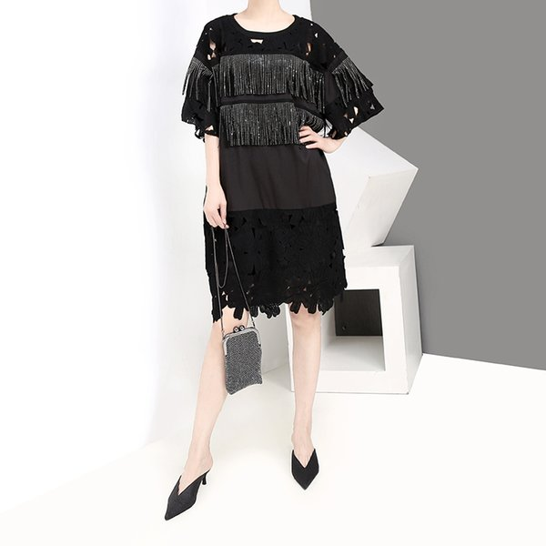 Neue 2019 koreanischen stil frauen sommer schwarz spitzenkleid mit fransen o neck plus größe damen casual mid dress lose robe femme f1028