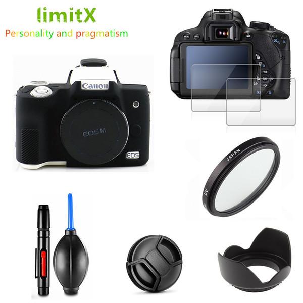 Cámara barata / bolsas de video Protector completo Protector de pantalla Caja de la cámara de la pantalla del filtro UV Lente de la capucha de la tapa de la tapa de la capucha para la lápiz de la limpieza del canon EOS M50 Mark