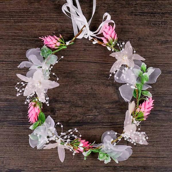 Femmes À La Main Floral Bandeau Filles Doux Réglable Fleur Guirlande Headpieces De Mariée Partie De Mariage Élégant Cheveux Ornements