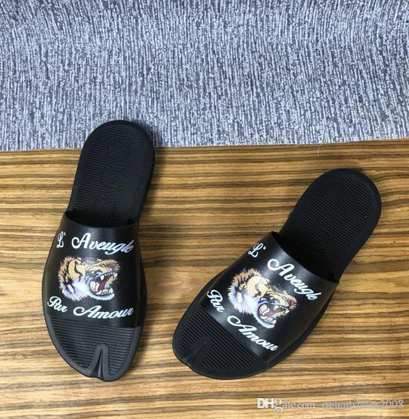 Tiger Pantoffeln Frauen und Männer Neu kommen Mode Schuhe aus echtem Leder Sandalen Frauen besetzt Riemchen Schuhe mit Logo-Box